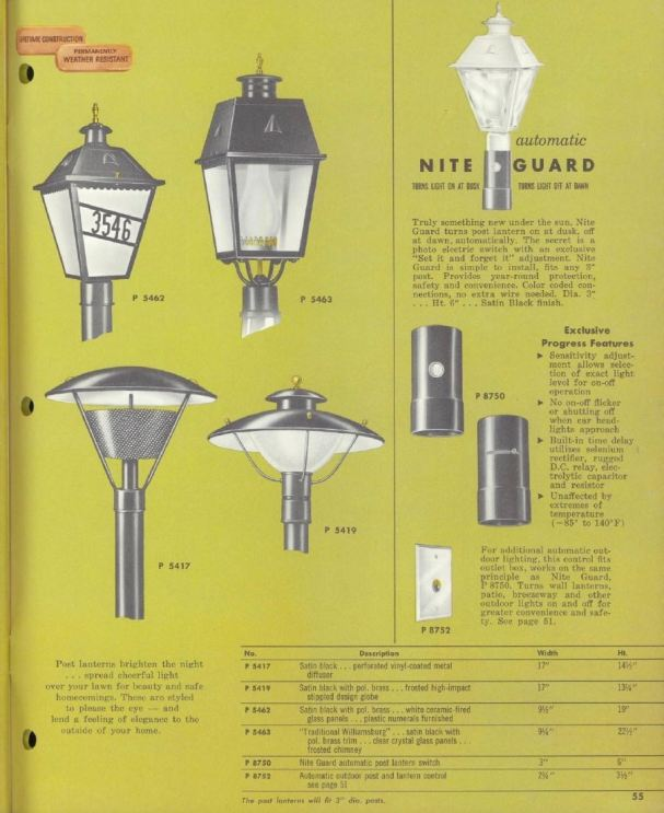The 1960 Progress Light catalog. The lamp in the yard is P 5419.