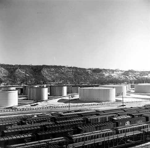 In 1970 oil tanks and railroad cars covered the area. Photo courtesy Minnesota Historical Society.