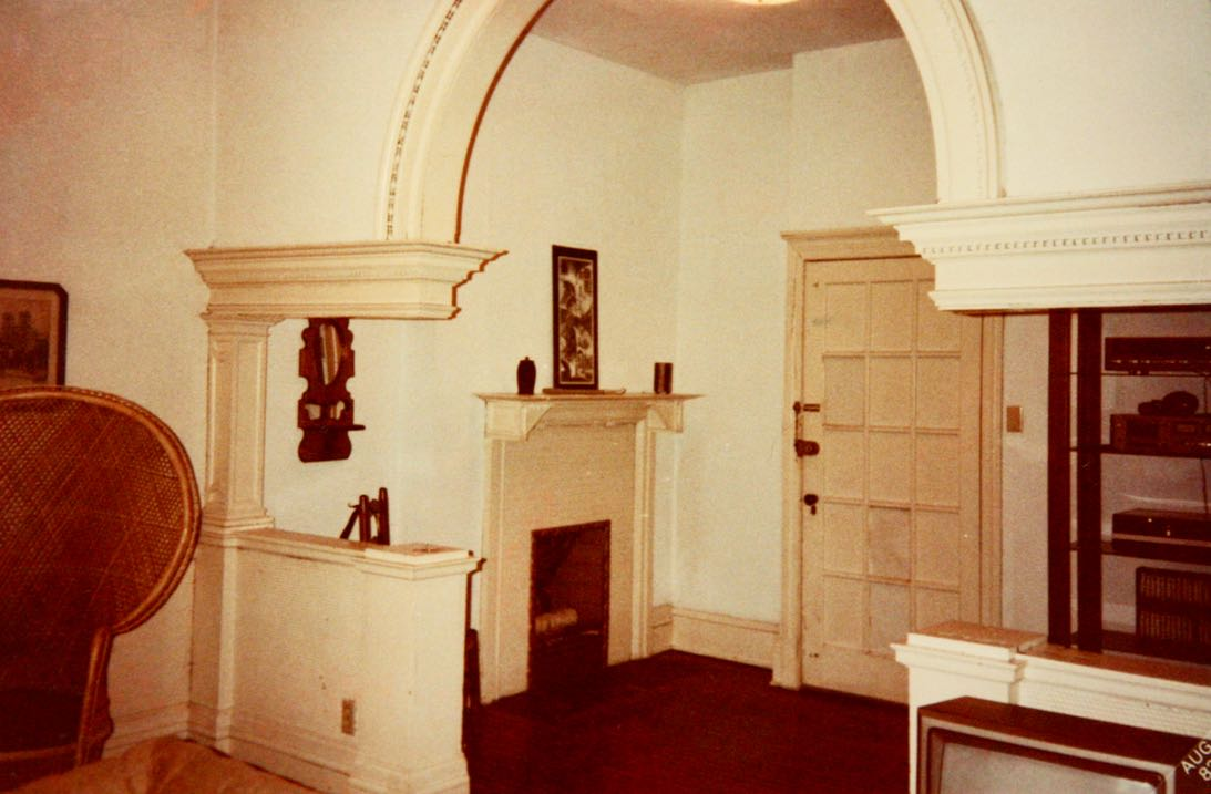 The archway, walls, fireplace, trim and door were all white when Dick moved into 593 Summit. This picture is from August 1982. Courtesy of Dick Tollefson.