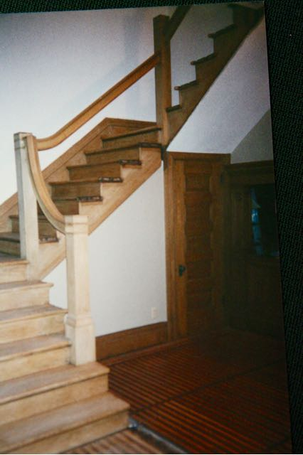 The balusters, some stain and varnish, are all that are left of the months-long refurbishing of the stairs. Photo courtesy of Dick Tollefson.