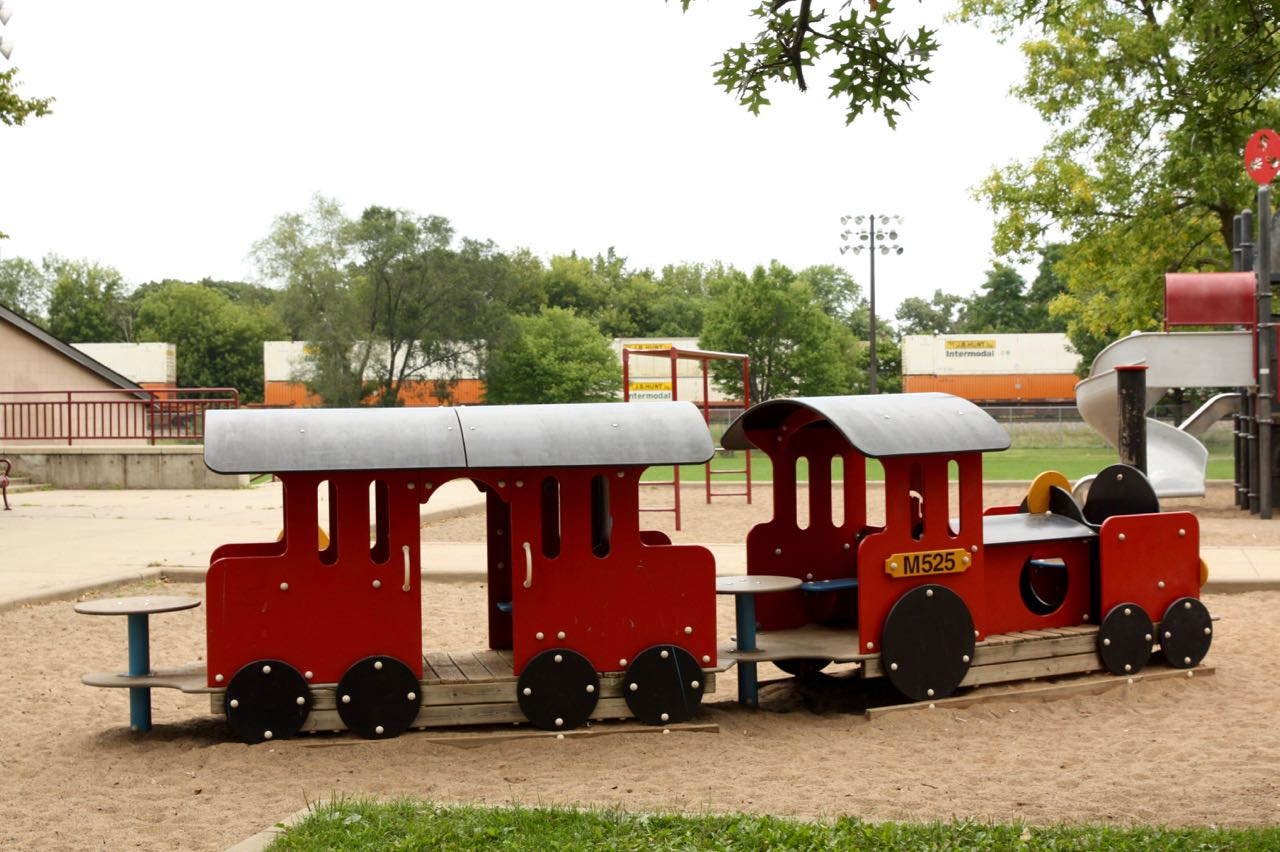 The Orchard Playground railroad reflects the BNSF tracks that pass immediately to the north.
