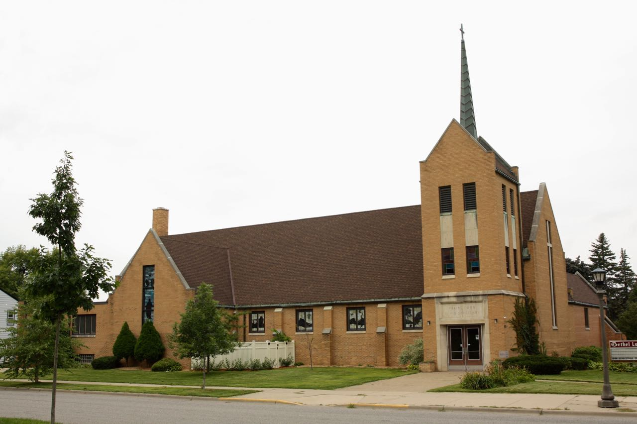 Bethel Lutheran Church dominates the southwest corner of Wheelock Parkway and North Maywood Street.