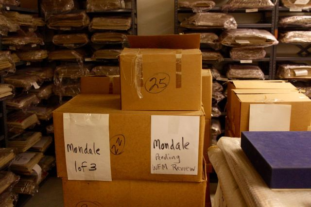 Vice President Walter Mondale's belongings are in the cardboard boxes.