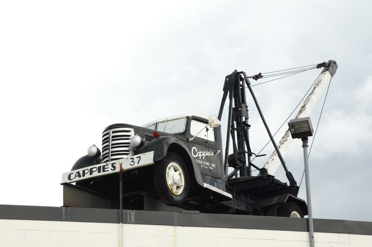 Speaking of Sylvan Street, this hoist truck sits atop the roof of Cappie's Trucking at 1384 Sylvan.