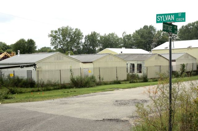 These storage sheds line the southern edge of Cottage Avenue off Sylvan.