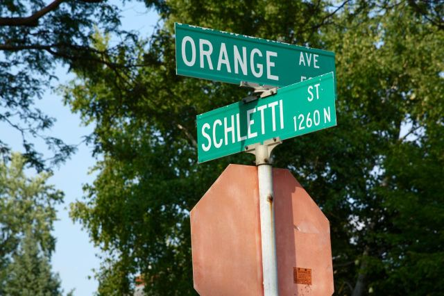 Schletti Street runs north and south half a block west of the Schletty house at 503 Orange Avenue.