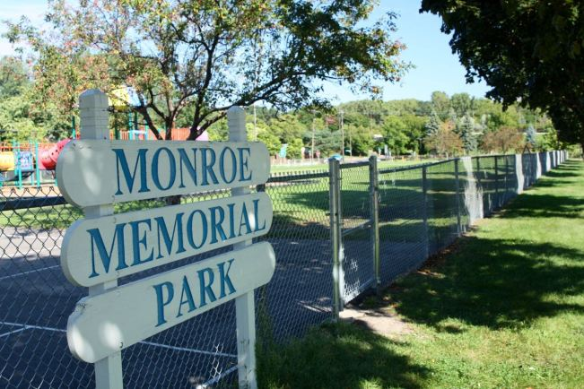 Monroe Memorial Park sits on a block and a half rectangle of land bordered by Jefferson Avenue, Clifton and Victoria Streets and Palace Avenue.