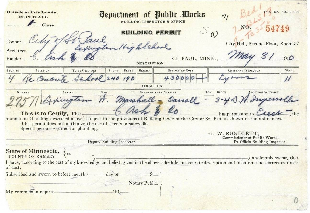 The 1910 building permit for the new Lexington High School.