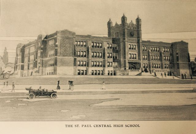 A drawing of the brand new Central High School from the 1912 school year book. Lexington Parkway is the street in the foreground.