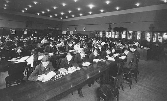Row after row of students were studying with unyielding focus in the Central library about 1915. Photo courtesy Minnesota Historical Society