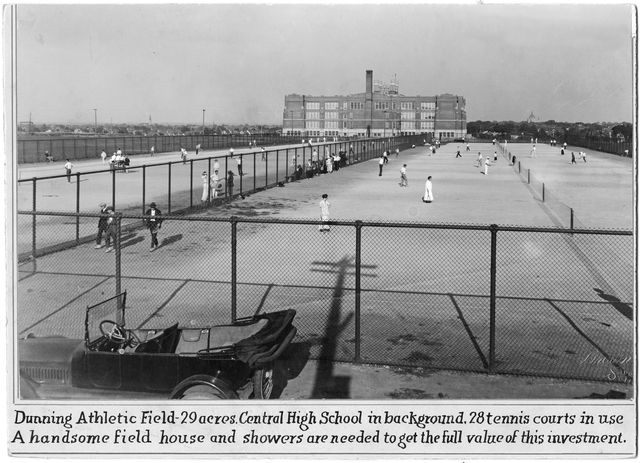 The 28 Dunning Tennis Courts, later named for Bucky Olson, shortly after their construction in 1916. That is Central High in the background. Courtesy Minnesota Historical Society