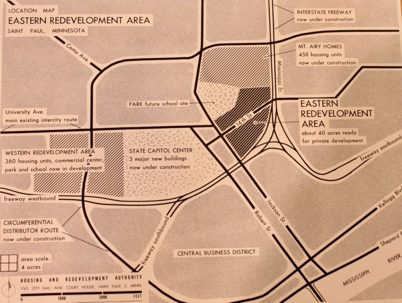 The Saint Paul Housing and Redevelopment Authority's 1957 location map of the Eastern and Western Redevelopment Areas.