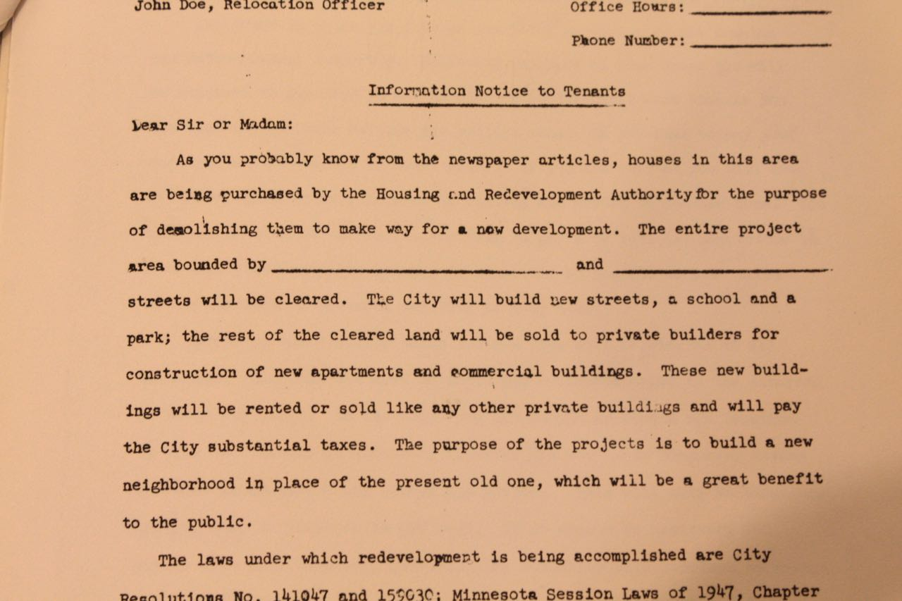 "This is a sample of the letter was sent to property owners within the Western Redevelopment Area. It is the most shocking of the public documents I read because it plainly states their property is being taken for demolition and construction of a ""new neighborhood…which will be of great benefit to the public."""