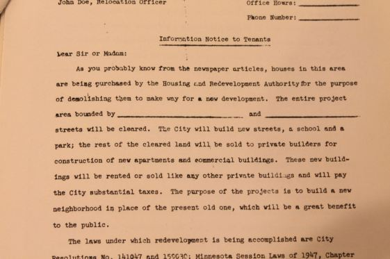 """This is a sample of the letter was sent to property owners within the Western Redevelopment Area. It is the most shocking of the public documents I read because it plainly states their property is being taken for demolition and construction of a """"new neighborhood…which will be of great benefit to the public."""""""