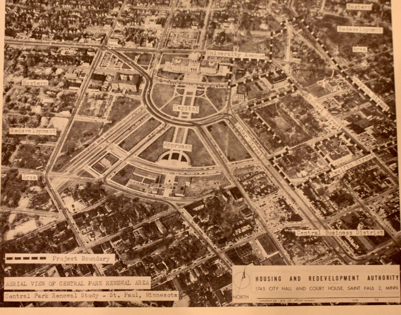 In 1957, the HRA labeled an aerial photo to give perspective to the proposed Eastern and Western Redevelopment Areas.