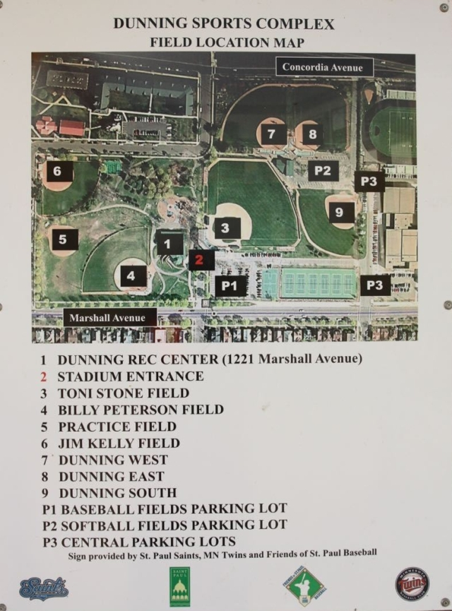 The aerial map gives a good perspective to the many facilities within the Dunning Sports Complex.