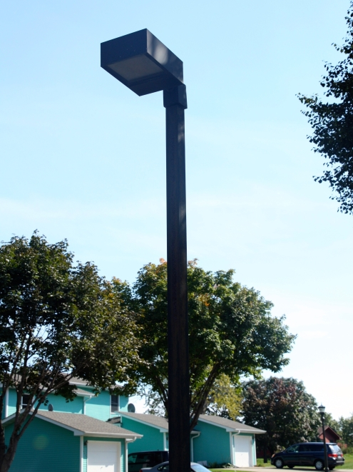 These decades old street lights, with nothing but horizontal and vertical lines, line parts of the Central Park neighborhood.