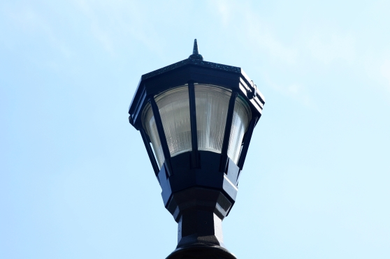 The more traditional and more recently installed street lamp style is also common here.
