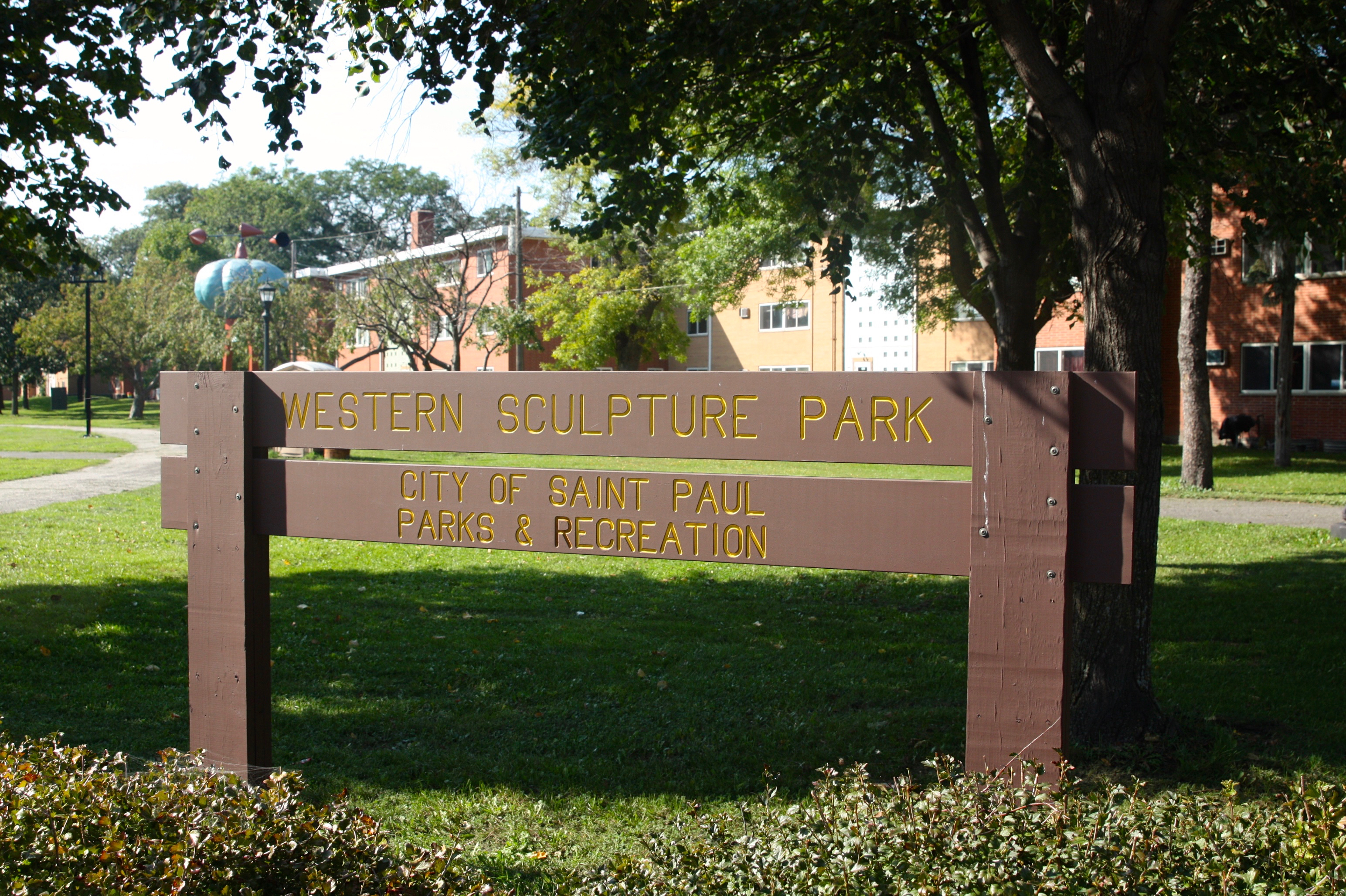 Visitors entering Western Sculpture Park from Marion Street are welcomed by this sign.