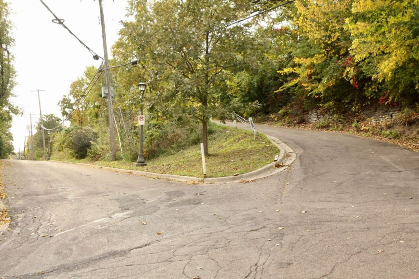 Irvine Avenue doubles back upon itself just down the bluff at the east end.