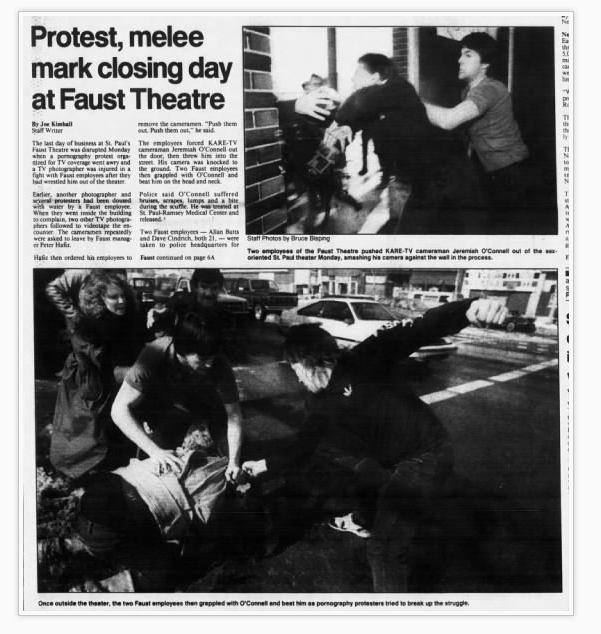 It took community members 20 years of protests and complaints to the city, and a $1.8 million payment from the City to the Faust owners to get them to close the notorious adult theater. The Minneapolis Star Tribune newspaper story about the day the Faust Theater shut down. Photo courtesy Newspapers.com