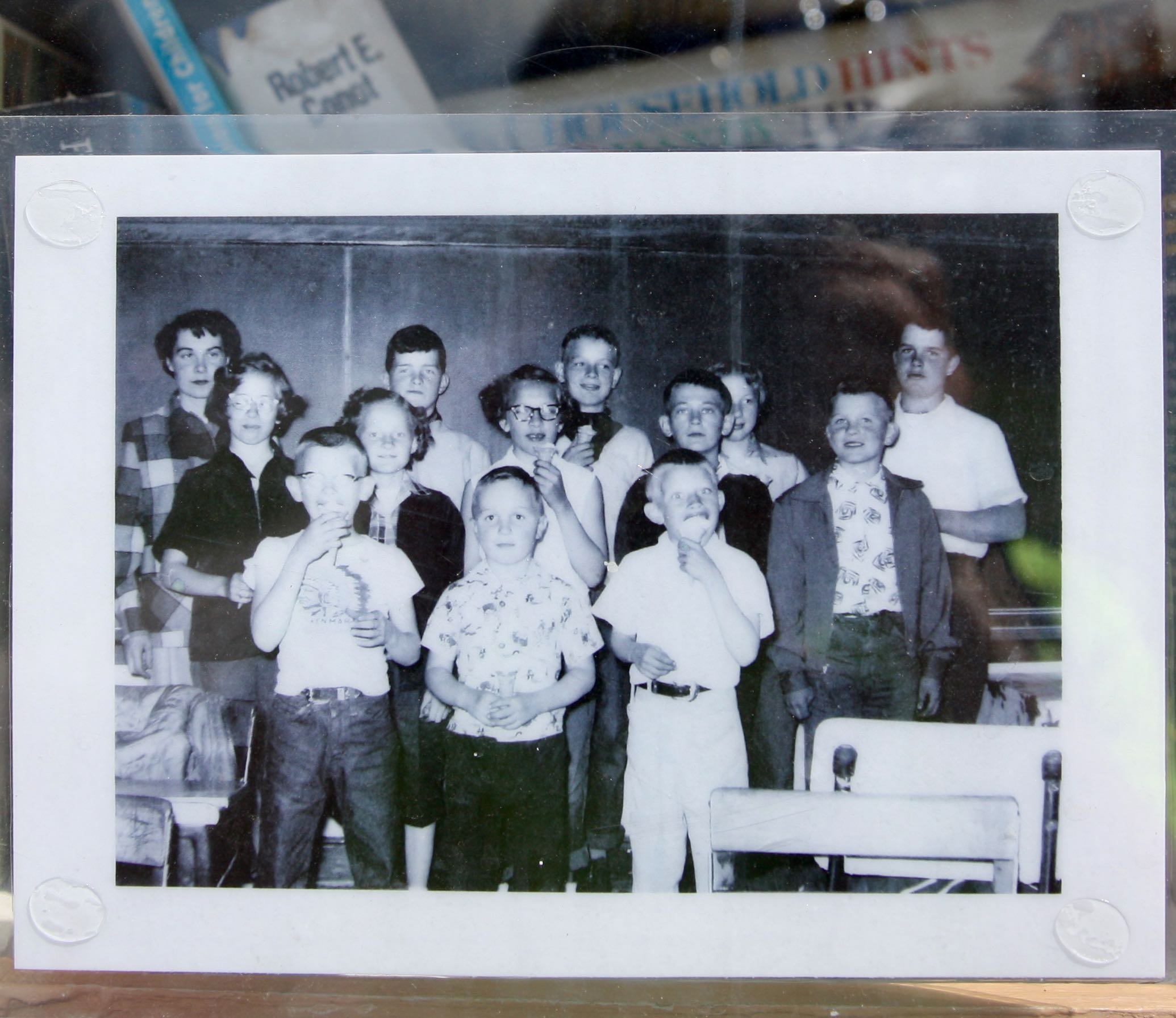 A photo taken in the rural North Dakota schoolhouse Keith Folkert attended in the 1950s. Keith is in the middle row, on the far right wearing a jacket. His brother is the boy in the middle of the front row.