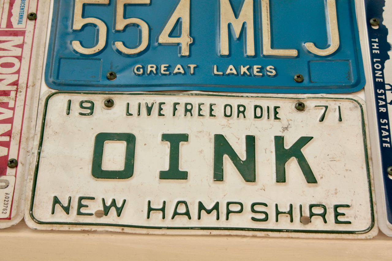A neighbor presented the New Hampshire vanity plate to Rita. It's one of several she's gotten from generous neighbors.