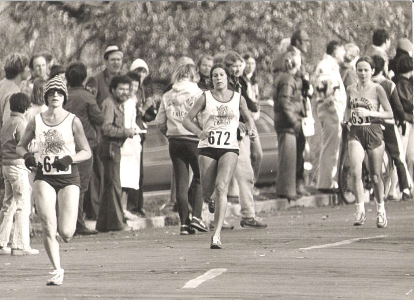 Three runners, including Jan Arenz of Minnesota, in the Women's National Marathon Championship on October 23, 1977, in Saint Paul. Photo courtesy StarTribune.