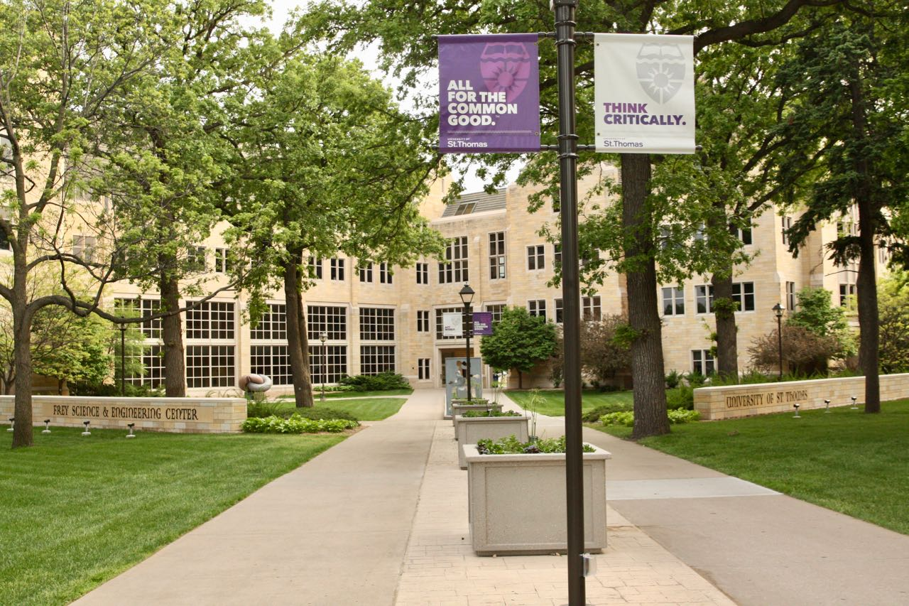 The Frey Science and Engineering Center is two buildings, O'Shaughnessy Science Hall and Owens Science Hall, which share this entrance.