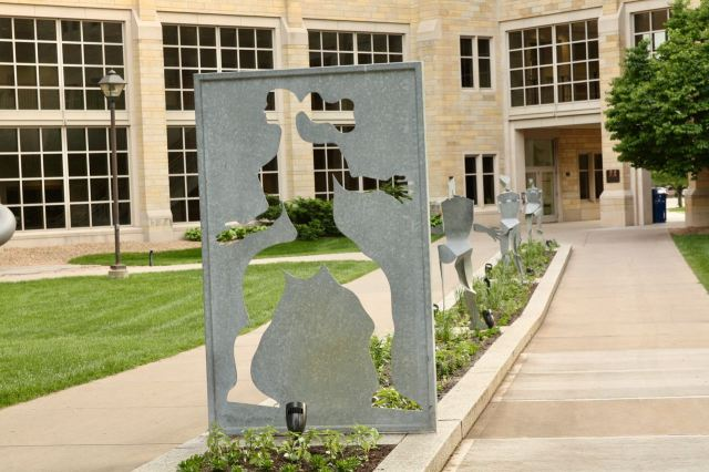 Artwork near the entrance of the Frey Science and Engineering Center.