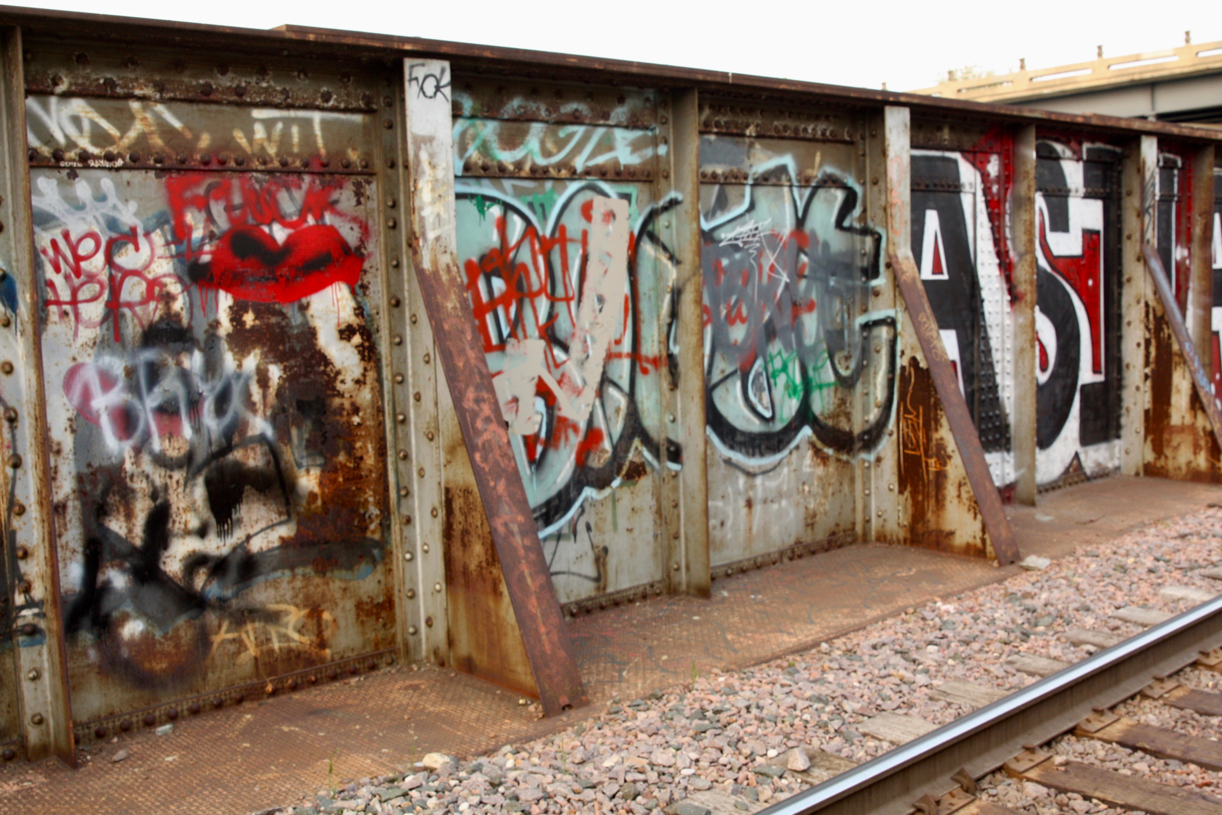 Bridges are more protected than the train cars and get their share of spray paint.