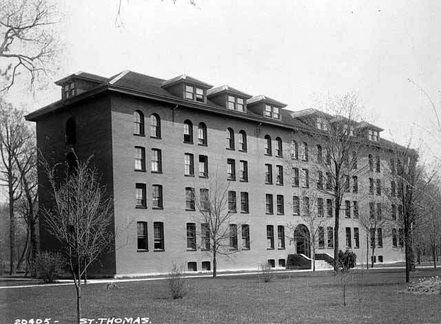 North Dormitory as photographed in 1895, a year after construction. Courtesy University of St. Thomas archives photo collection.