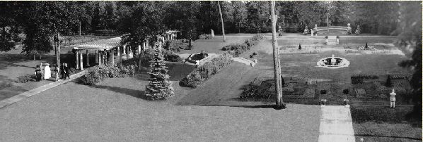 The Stonebridge pergola, left, and a small section of the gardens. Photo courtesy http://homesmsp.com.