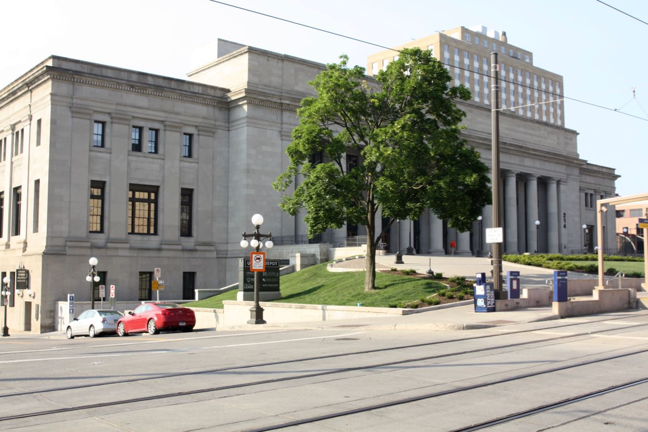 Saint Paul's grand Union Depot viewed from 4th Street East and Wacouta Street.