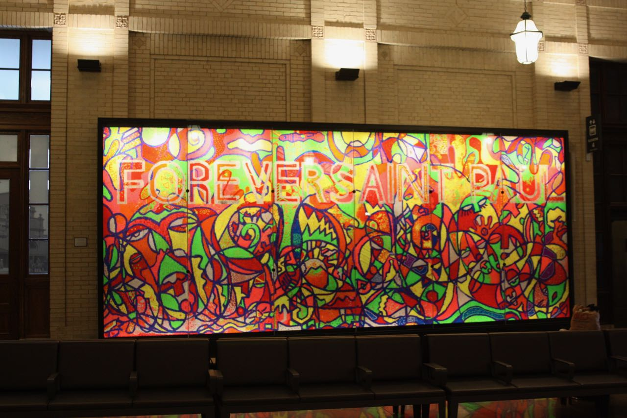 "The mural ""Forever Saint Paul"" is made entirely with Lite Brites."