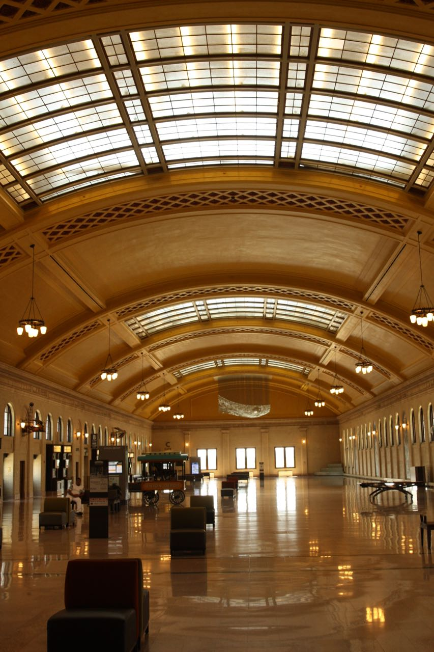 The stunning Union Depot concourse. The skylights were blacked out with tar in the early 1940s to make the Depot less susceptible to air attacks during World War II. The black tar was stripped away during renovations.