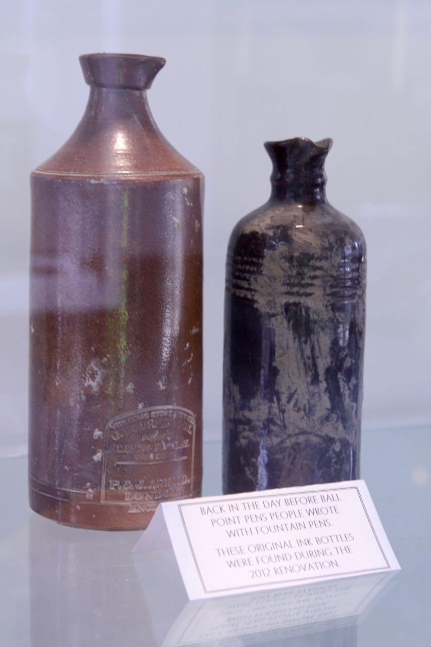 These ink bottles were uncovered during renovation.