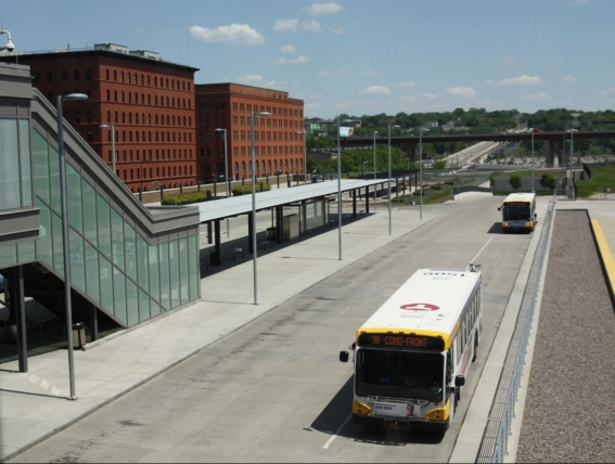 Bus lanes have replaced nearly all of the railroad tracks that ran to the depot. The structure with windows (left) takes passengers to and from the waiting room to the bus platforms.