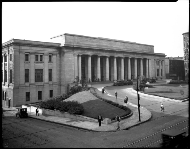 Architect Charles Sumner Frost designed Saint Paul Union Depot in 1913 at the behest of James J. Hill. Construction began in 1917 but wasn't finished until 1926 because of World War I. Courtesy Minnesota Historical Society.