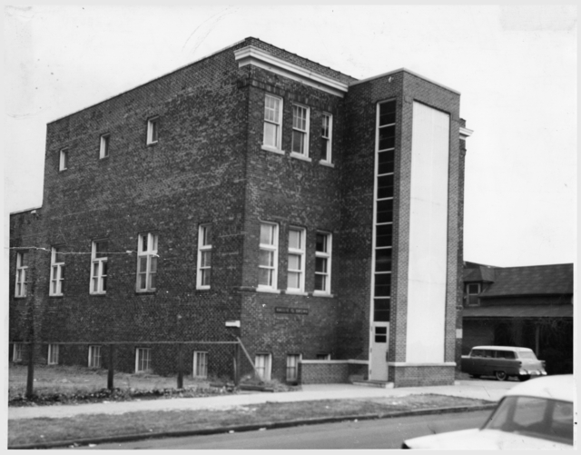 The original building, a Masonic Hall, stood in Rondo, on Aurora Avenue at Mackubin Street, a block east of where the Unidale Mall is today. The Hallie Q. Brown Center's current home at 270 Kent Street was built in the early 1970s. Courtesy Minnesota Historical Society