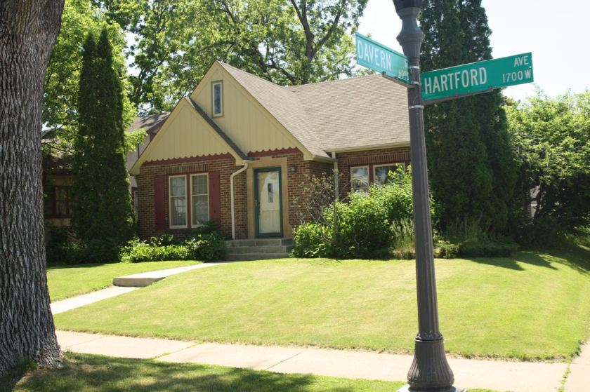 The front of 1696 Hartford is a traditional 1.5 story post-WWII style.