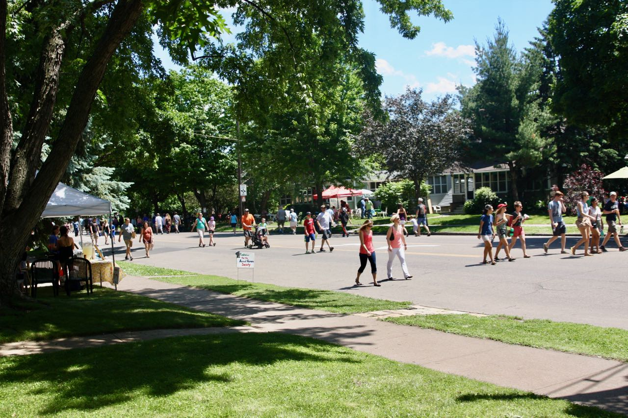 Looking east on Grand from the Clift's front yard. The nearly perfect weather meant a good turnout for Grand Old Day.
