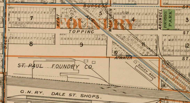 The plat map from 1908 showing the location of the St. Paul Foundry Company grounds and areas nearby. From Curtice's revised atlas of the city of St. Paul.