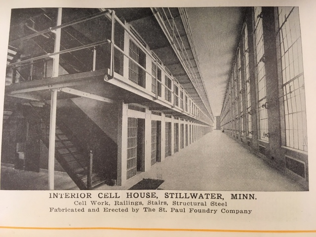 Stillwater prison advertisement in a St. Paul Foundry catalog. The foundry made the steel for prisons in Minnesota, Washington State, Missouri, Illinois, Colorado, and Michigan.
