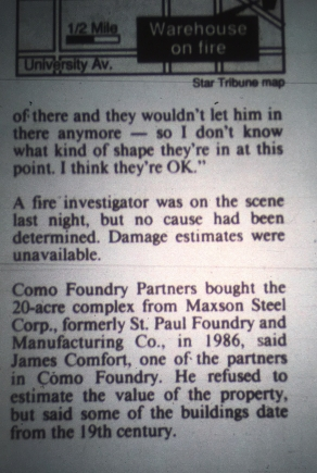 A May 25, 1990 article in the Minneapolis Star Tribune about the blaze.