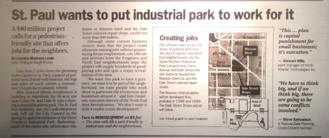 A Minneapolis Star Tribune article from ???? talks about redevelopment plans for the Maxson Steel site.