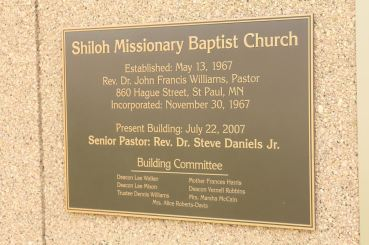 The plaque on the Shiloh Missionary Baptist Church Building on Kent Street.