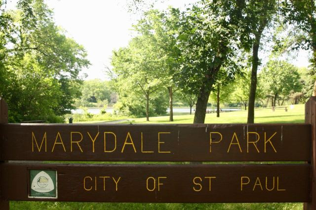 Marydale Park, about four square blocks in size, is named for it's location at the southeast corner of Maryland and Dale. Loeb Lake is in the extreme background.