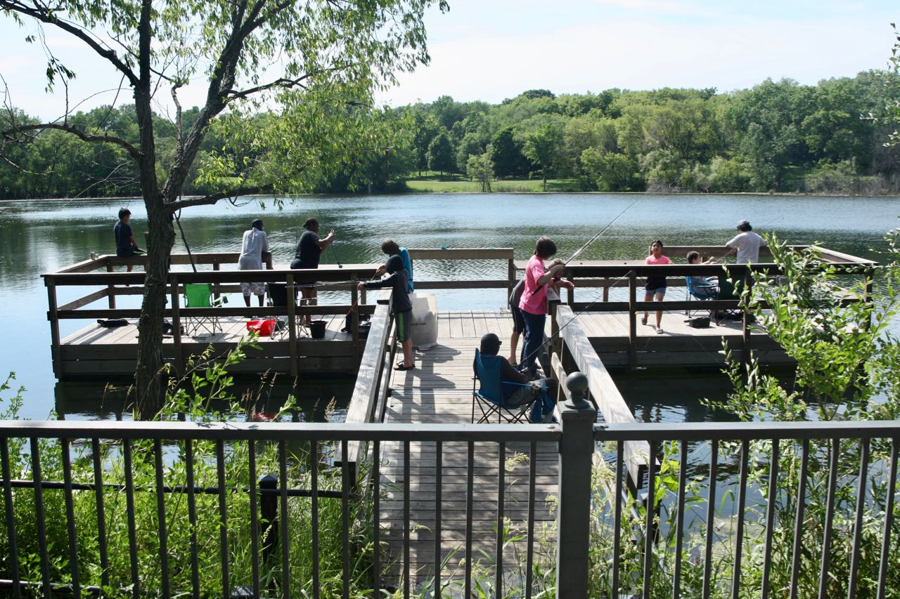 A big draw at Marydale Park is the Loeb Lake fishing pier on the east (Mackubin Street) side of Loeb Lake, where at least a dozen people were fishing or relaxing..