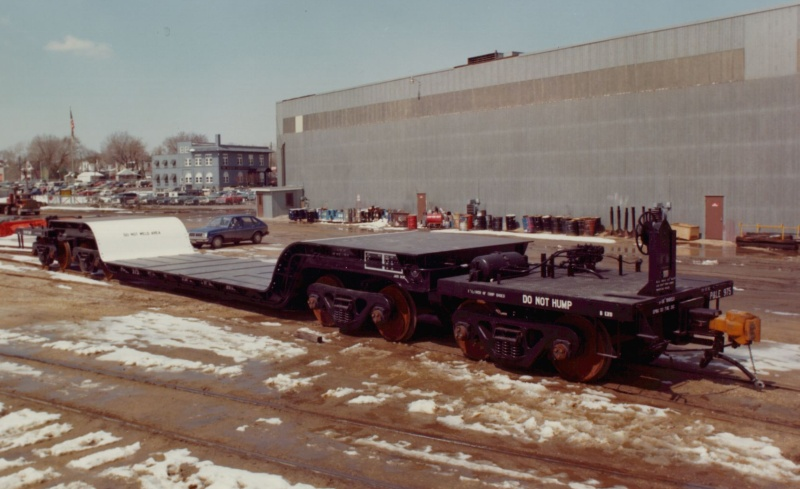 Another example of the specialized rail cars produced by Maxson in the company's later years. Note the Maxson headquarters building in the background. Photo courtesy Ted Larson Collection and A custom rail car built by Maxson for Union Pacific Railroad. Photo courtesy Ted Larson Collection and trainweb.org